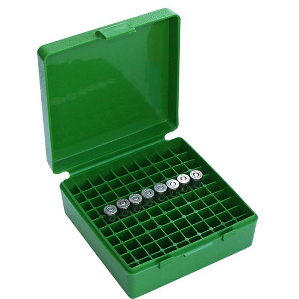 MTM P100-38 Ammo Box 38 Special, 357 Magnum Green