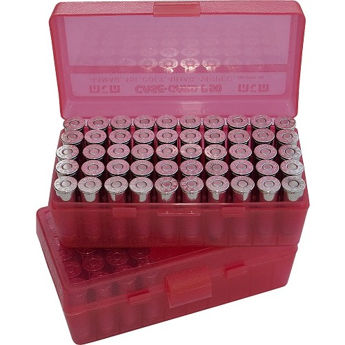 MTM P50-38 Ammo Box 38 Special, 357 Magnum Clear Red