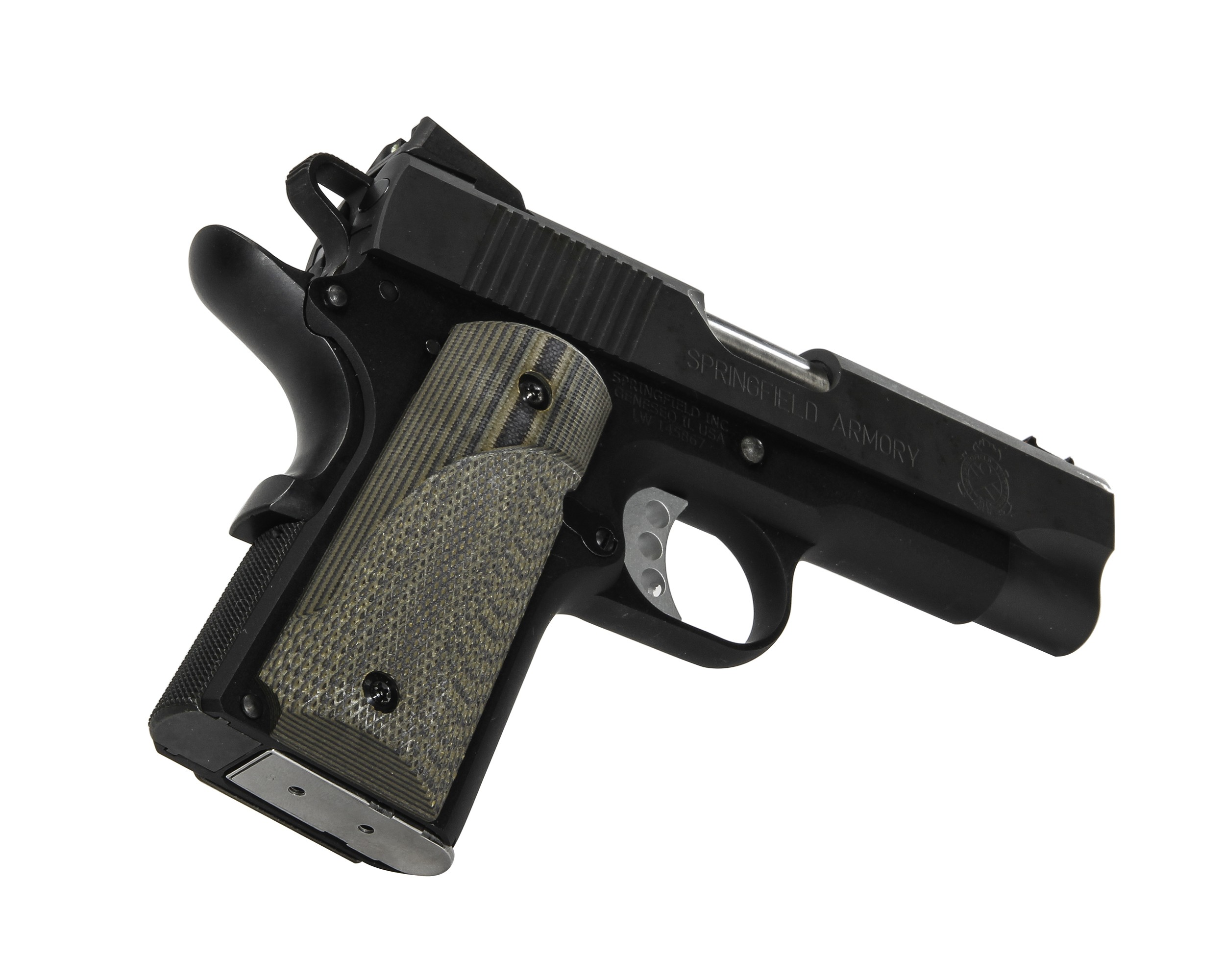 Pachmayr G10 Tactical Grips 1911 Officer Green/Black Fine