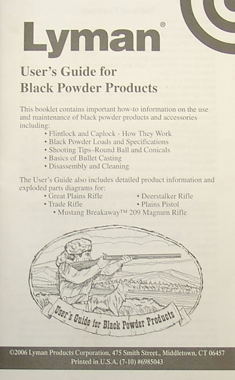 Lyman Black Powder Products Users Guide