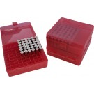 MTM P100-9 Ammo Box 9mm, 380 Clear Red