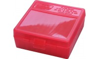 MTM P100-38 Ammo Box 38 Special, 357 Magnum Clear Red
