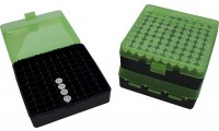 MTM P100-9 Ammo Box 9mm, 380 Clear Green/Black
