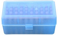 MTM RMLD-50-24  Ammo Box 50 Round Flip-Top 300 Wsm 45-70 7mm Clear Blue