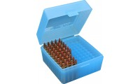 MTM RS-100 Rifle Ammo Box Flip-Top 223 204 Ruger 6x47 Clear Blue