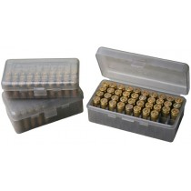 MTM Ammo Box 50 Round Flip-Top Original 9mm 380 Acp Clear-Smoke