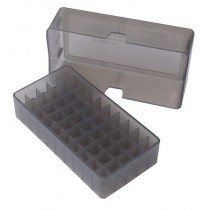 MTM E50-45-41  Slip-Top Ammo Box 50 Round Square Hole .41 - .44 Clear Smoke