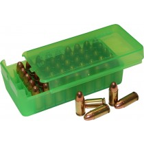 MTM P50SS Side-Slide Pistol ammo boxes 50 round 9mm 380ACP Clear Green