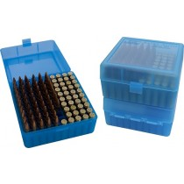 MTM RM-100 Ammo Box 100 Round Flip-Top 22-250 243 308 Win 220 Swift Clear Blue