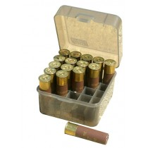 "MTM Flip-Top Shotshell Box 10/12 Gauge Up To 3.5"" 25-Round Plastic Clear Smoke"
