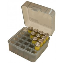 "MTM Flip-Top Shotshell Box 12/16/20 Gauge Up To 3"" 25-Round Plastic Clear Smoke"