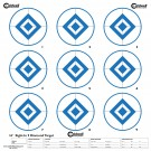 Caldwell Cible Papier 40cm Sight-In 9 Diamond Bleue x10