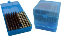 MTM RM-100 Boîtes À Munitions  Flip-Top 22-250 243 308 Win 220 Swift Bleu Transparent