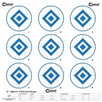 Caldwell Cible Papier 40cm Sight-In 9 Diamond Bleue x10