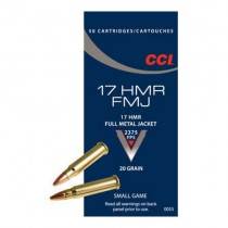 CCI Munitions 17 HMR 20gr FMJ x50
