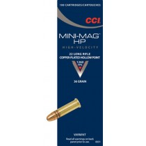 CCI 22lr HP Mini-Mag x100 Munitions 22 Long Rifle Haute Vélocité