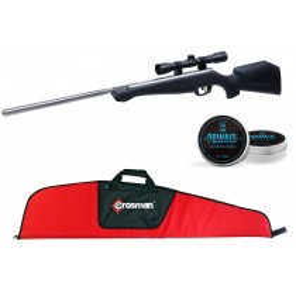 Crosman Pack Carabine Silverfox 19,9J + Lunette 4X32 Center Point + 500 Plombs 4,5+ Fourreau Crosman